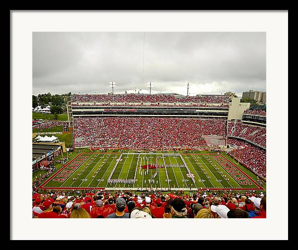 Razorbacks Framed Print featuring the photograph Arkansas Marching Band Forms U-of-a At Razorback Stadium by Replay Photos