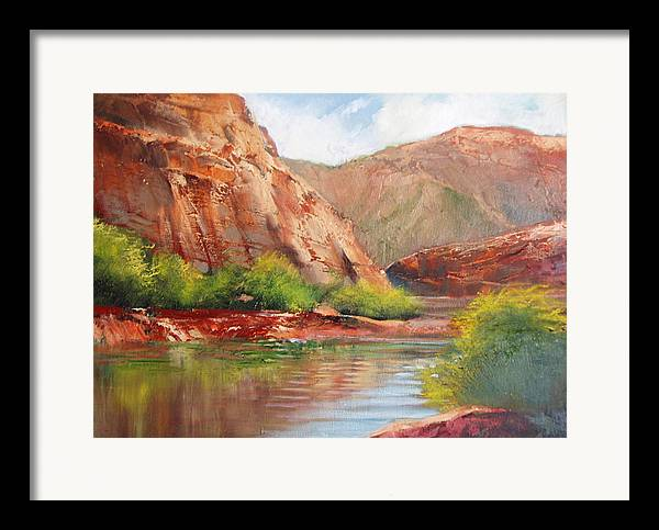 Landscape Framed Print featuring the painting Around The Bend by Robert Carver