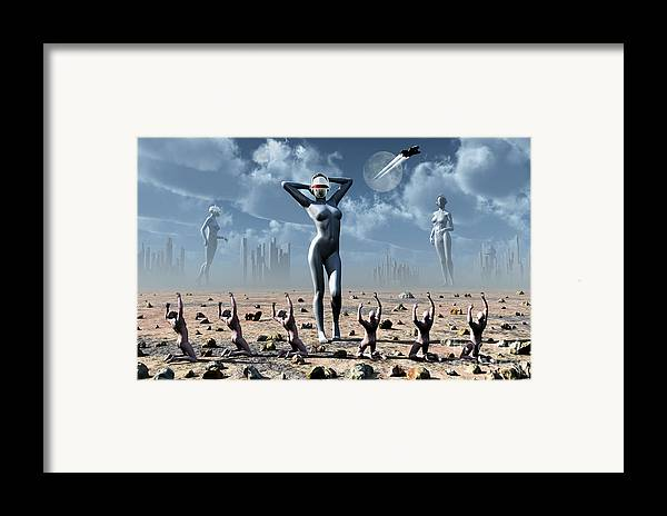 Religion Framed Print featuring the digital art Artists Concept Of Mankinds Reliance by Mark Stevenson