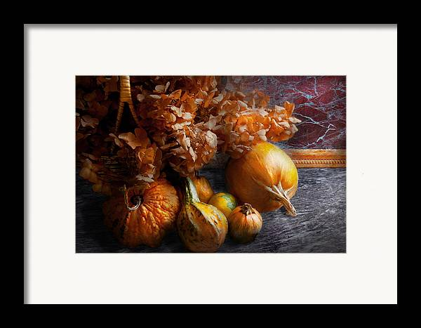 Pumpkin Framed Print featuring the photograph Autumn - Gourd - Still Life With Gourds by Mike Savad