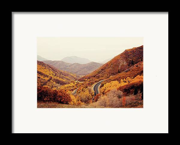 Horizontal Framed Print featuring the photograph Autumn Colored Trees Along Mountain Road by Www.julia-wade.com