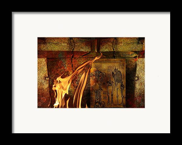 Surreal Framed Print featuring the mixed media Back Bone #3 by Janet Kearns