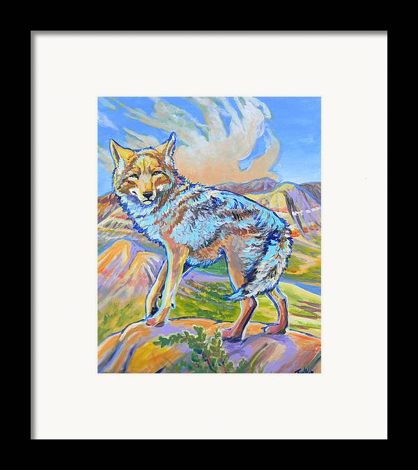 Coyote Framed Print featuring the painting Badland Coyote by Jenn Cunningham