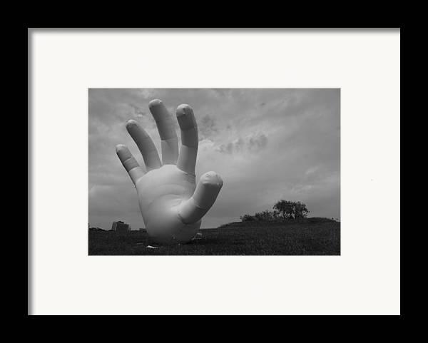 Hand Framed Print featuring the photograph Balloon Hand by Nina Mirhabibi