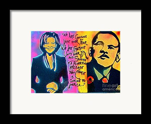 Barack Obama Framed Print featuring the painting Barack And Michelle by Tony B Conscious