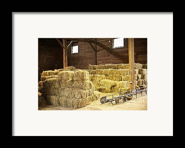 Barn Framed Print featuring the photograph Barn With Hay Bales by Elena Elisseeva