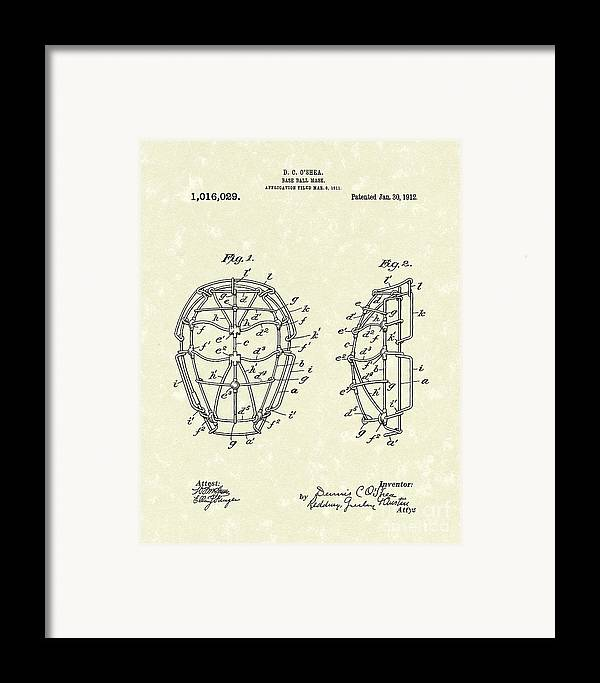 Baseball Framed Print featuring the drawing Baseball Mask 1912 Patent Art by Prior Art Design