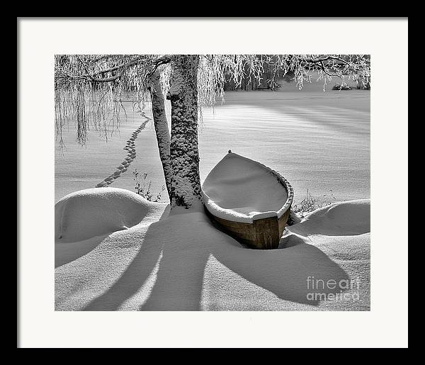Rowboat Framed Print featuring the photograph Bath And Snowy Rowboat by Ari Salmela