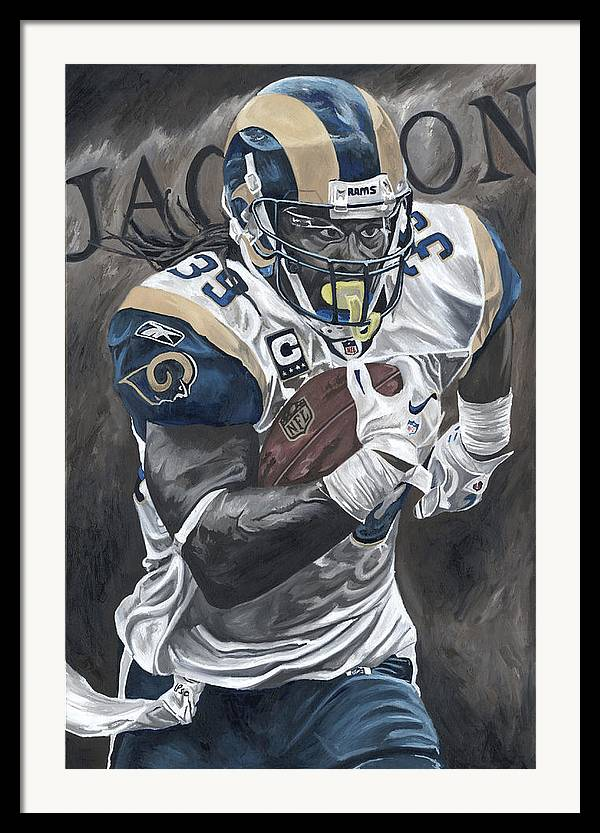 Steven Jackson St Louis Rams Running Back Sports Art David Courson Football Nfl Framed Print featuring the painting Battering Ram by David Courson