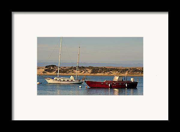 Boats In The Harbor Framed Print featuring the photograph Before Sundown by Fraida Gutovich