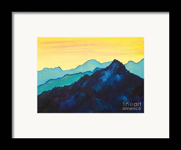 Landscape Framed Print featuring the painting Blue Mountain II by Silvie Kendall