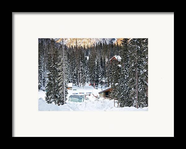 Landscape Framed Print featuring the photograph Bottom Of Ski Slope by Lisa Spencer