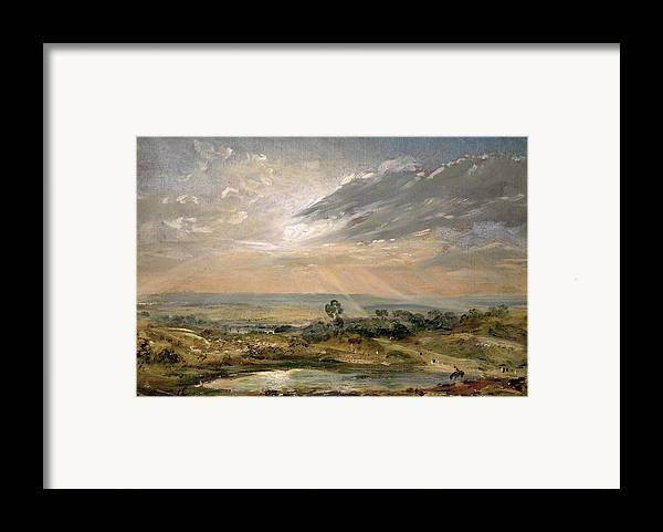 Sky; Landscape; Sunrise; Sunset; Dramatic; Romantic; Romanticism Framed Print featuring the painting Branch Hill Pond Hampstead by John Constable
