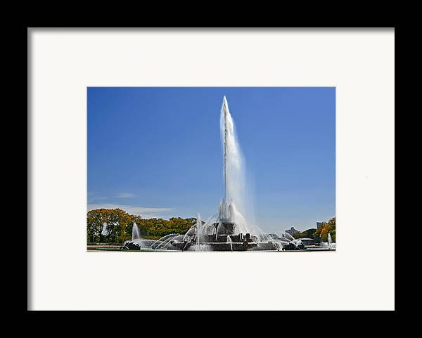 Clarence Framed Print featuring the photograph Buckingham Fountain - Chicago's Iconic Landmark by Christine Till