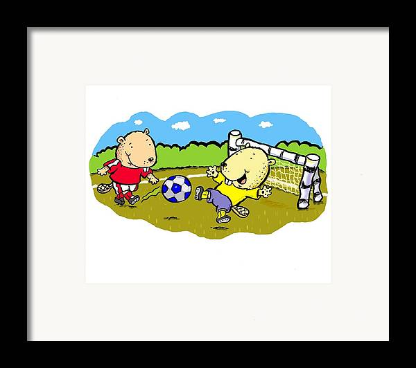 Scott Nelson Framed Print featuring the digital art Busy Beaver Soccer by Scott Nelson