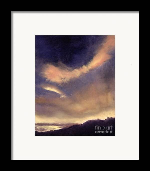 Cloud; Formation; Sunset; Dusk; Orange Sky; Atmospheric; Clouds; Cloudscape Framed Print featuring the painting Butterfly Clouds by Antonia Myatt