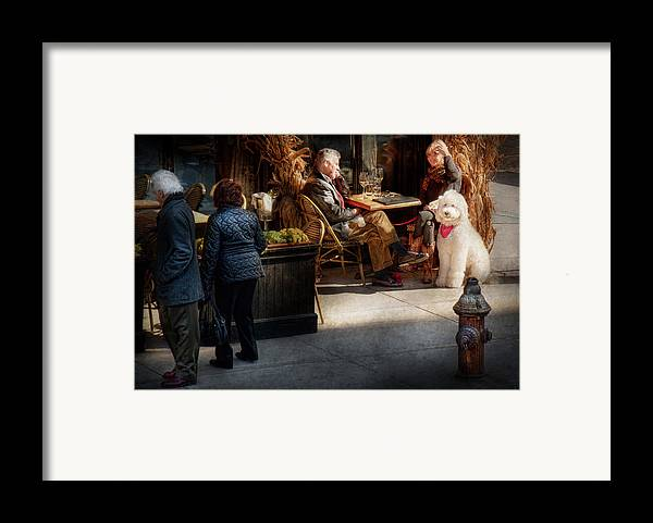 Dog Framed Print featuring the photograph Cafe - Ny - High Line - Waiter I Would Like To Order by Mike Savad