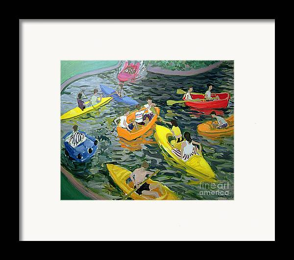 Canoe Framed Print featuring the painting Canoes by Andrew Macara