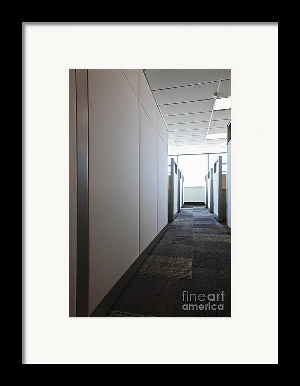 Aisle Framed Print featuring the photograph Carpeted Hall With Office Cubicles by Jetta Productions, Inc