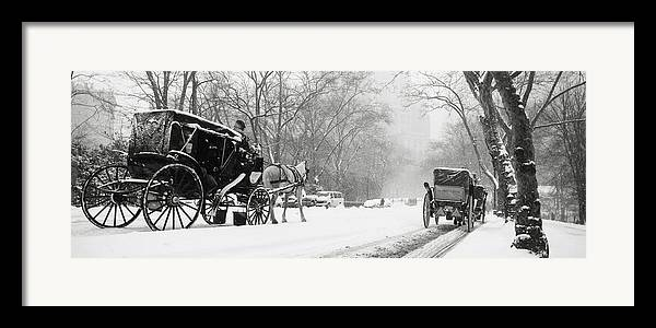 Weather Framed Print featuring the photograph Central Park In Falling Snow by Axiom Photographic