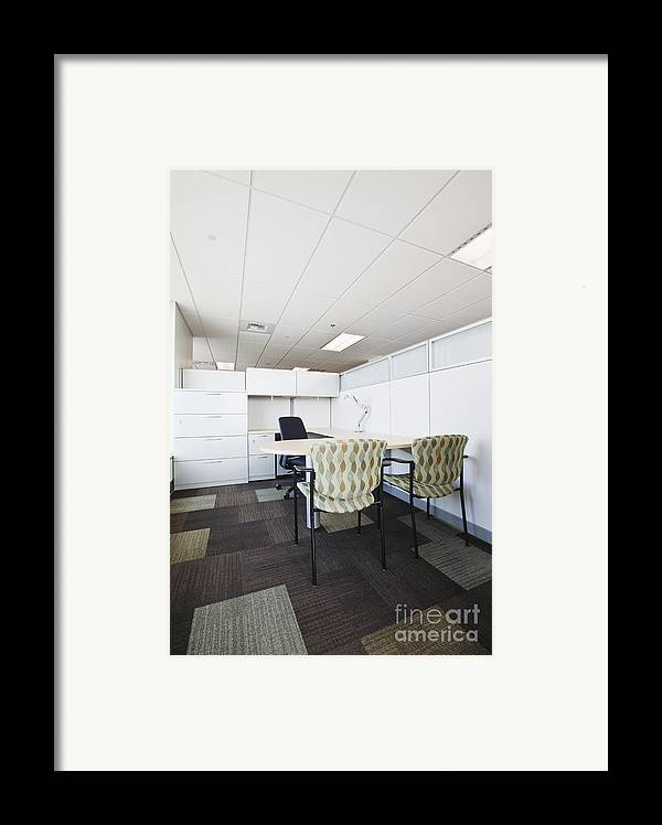 Architecture Framed Print featuring the photograph Chairs And Desk In Office Cubicle by Jetta Productions, Inc