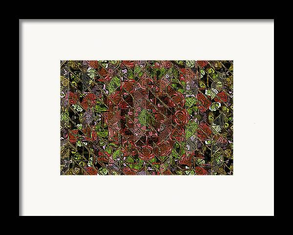 Chaos Abstract Digital Painting Red Rose Roses Black Hole Mosaic Texture  Framed Print featuring the painting Chaos by Stefan Kuhn