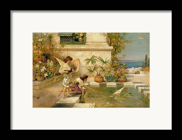 Children Framed Print featuring the painting Children Playing With Boats by William Stephen Coleman