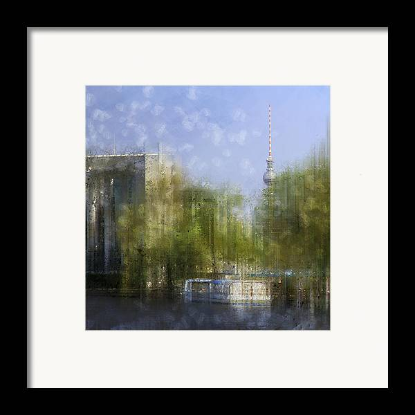Square Framed Print featuring the photograph City-art Berlin River Spree by Melanie Viola