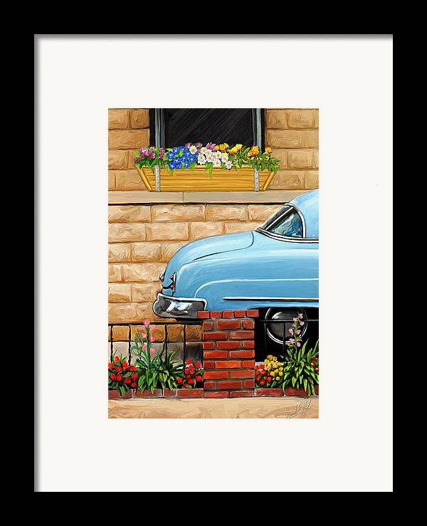 Old Car Framed Print featuring the painting Clunker In The Garden by David Kyte