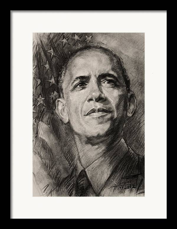 Barack Obama Framed Print featuring the drawing Commander-in-chief by Ylli Haruni