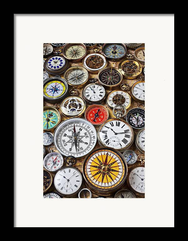 Watch Framed Print featuring the photograph Compases And Pocket Watches by Garry Gay