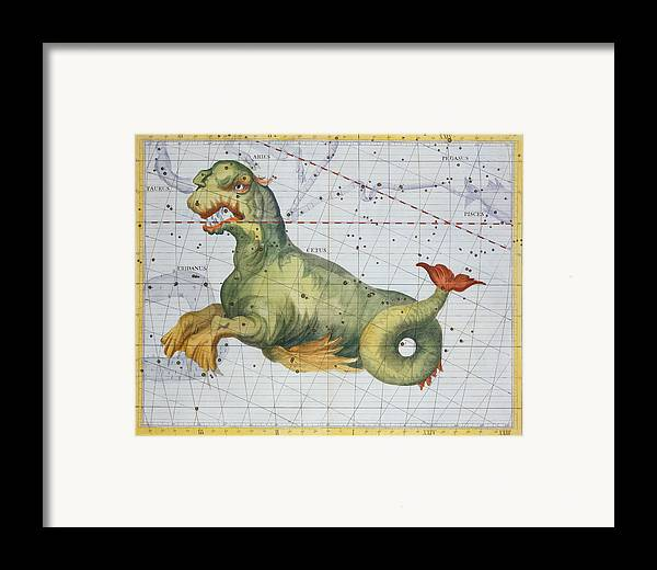Constellation Of Cetus The Whale Framed Print featuring the drawing Constellation Of Cetus The Whale by James Thornhill