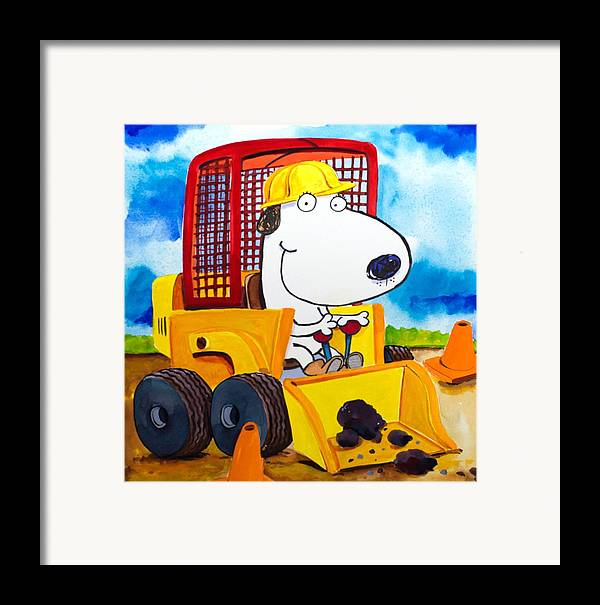 Dog Framed Print featuring the painting Construction Dogs by Scott Nelson