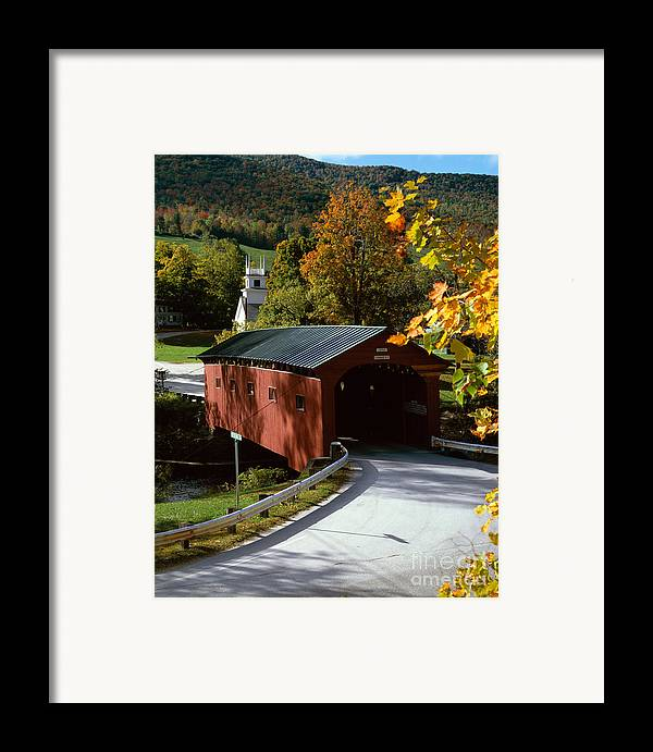 Arlington Framed Print featuring the photograph Covered Bridge In Vermont by Rafael Macia and Photo Researchers