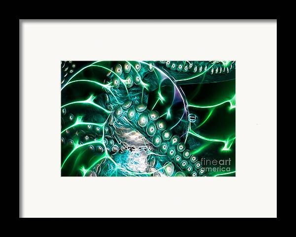 Octopus Framed Print featuring the photograph Creatures Of The Deep - Octopus Caught In The Swirl Of The Giant Nautilus - Electric - Cyan by Wingsdomain Art and Photography