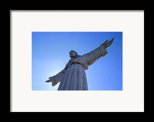 Catholic Monument Of Jesus Christ Inspired By The Christ The Redeemer Statue In Rio De Janeiro Framed Print featuring the sculpture Cristo Rei by Anonymous