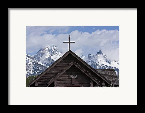 Chaple Of Transfiguration Framed Print featuring the photograph Cross Bird by Charles Warren