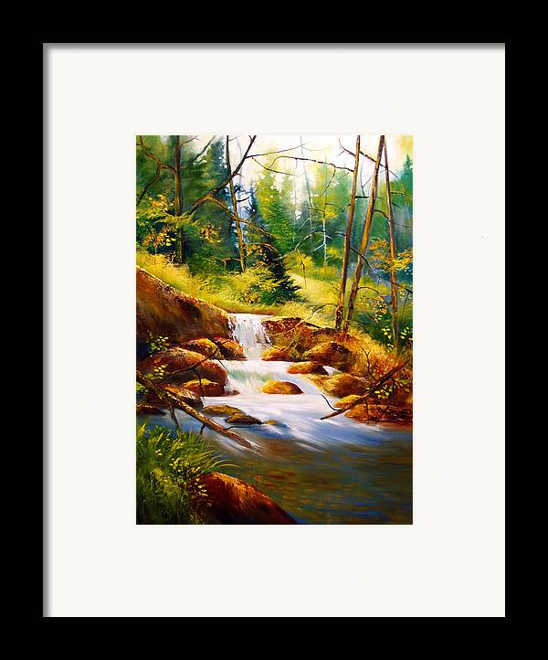 Waterfall Framed Print featuring the painting Deep Woods Beauty by Robert Carver