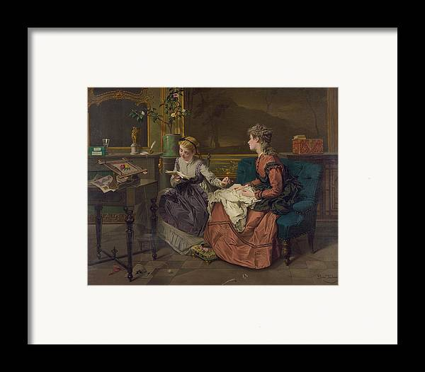 History Framed Print featuring the photograph Domestic Scene With Two Girls, One by Everett
