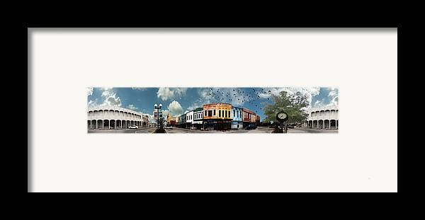 Bryan Framed Print featuring the photograph Downtown Bryan Texas Panorama 5 To 1 by Nikki Marie Smith