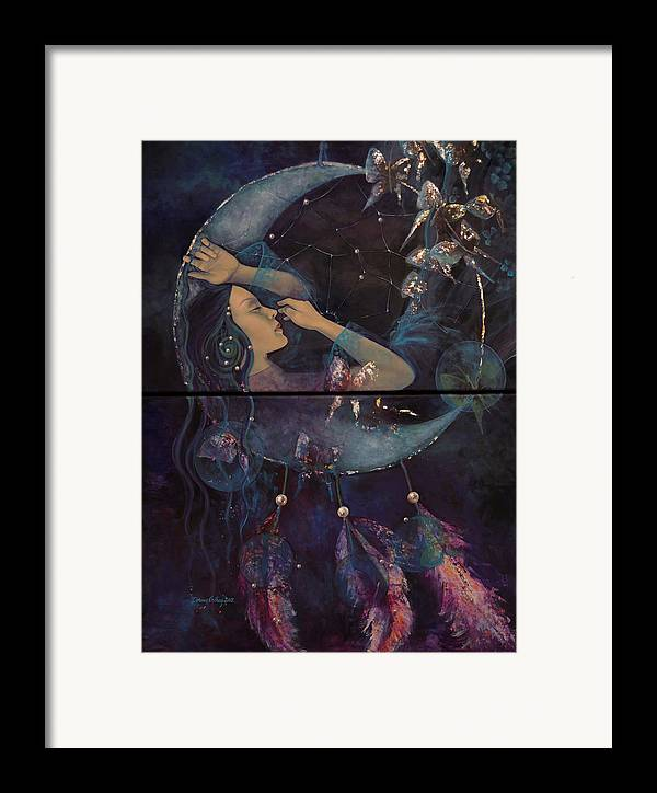 Art Framed Print featuring the painting Dream Catcher by Dorina Costras