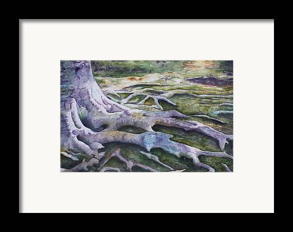 Tree Roots Framed Print featuring the painting Dunbar Cave Roots by Patsy Sharpe