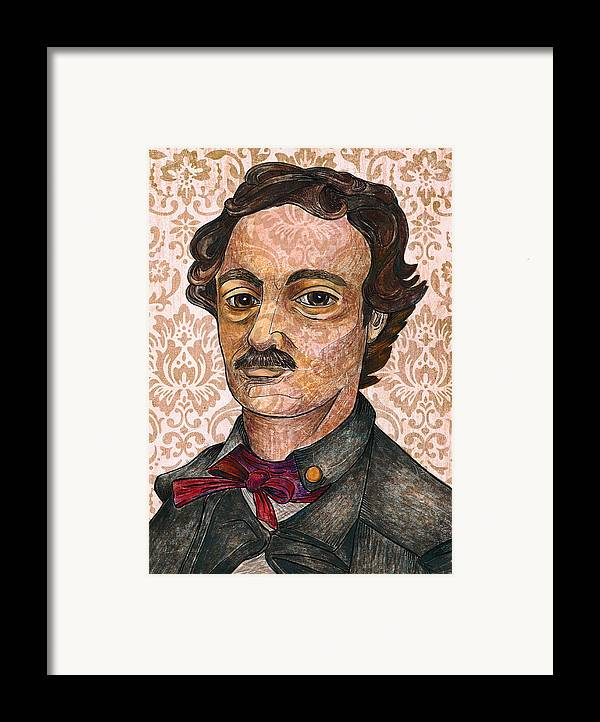 Edgar Allan Poe Framed Print featuring the drawing Edgar Allan Poe After The Thompson Daguerreotype by Nancy Mitchell
