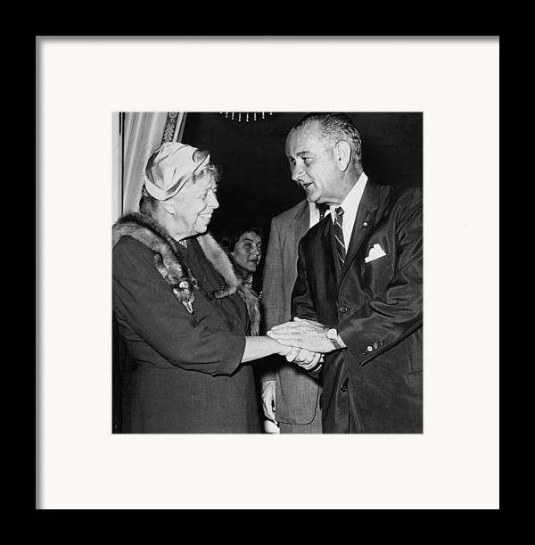 History Framed Print featuring the photograph Eleanor Roosevelt Shaking Hands by Everett