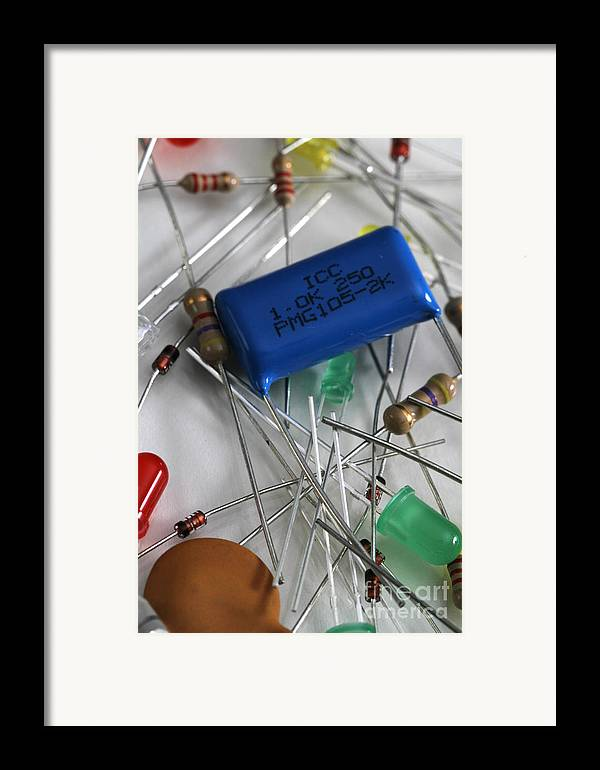 Capacitors Framed Print featuring the photograph Electronic Components by Photo Researchers, Inc.