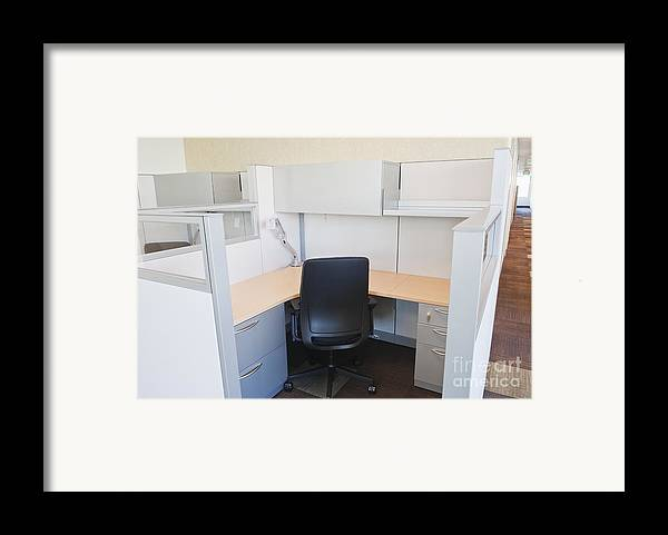 Architecture Framed Print featuring the photograph Empty Office Cubicle by Jetta Productions, Inc