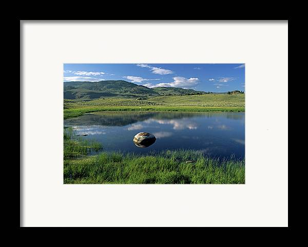 Horizontal Framed Print featuring the photograph Erratic Boulder And Small Pond In Lamar Valley by Altrendo Nature