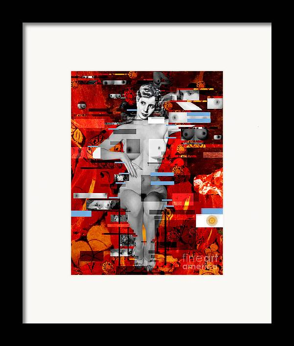 Eva Peron Framed Print featuring the painting Eva Peron Nude En Rouge by Karine Percheron-Daniels