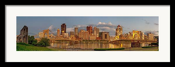 Pittbsurgh Framed Print featuring the photograph Evening Panorama by Jennifer Grover