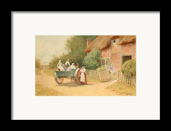 Horse And Cart; Cottage Garden; Rural; Countryside; Vernacular Architecture; Summer; Mother And Child; Baby; Thatched; Waving; Seeing Off Framed Print featuring the painting Farewell by Arthur Claude Strachan
